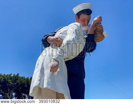 San Diego, California - July 25, 2020: Unconditional Surrender Statue By The Uss Midway, San Diego,
