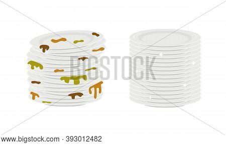 Stacks Of Dirty And Clean Plates Isolated On White Background. Dishes Before And After Washing. Vect