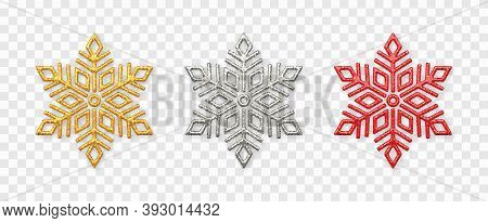 Snowflakes Set. Sparkling Golden, Silver And Red Snowflakes With Glitter Texture Isolated On Transpa