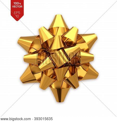 Bow. Golden Realistic Gift Bow Isolated On White Background. Vector Illustration.