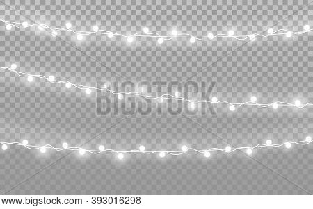 Christmas Lights On Transparent Backdrop. Realistic Silver Garlands. Luminous Light Bulbs For Greeti