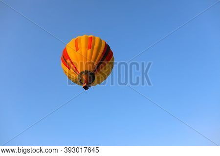 Inspiration Or Travel Background, Colorful Hot Air Balloon In Blue Sky. Balloon With Blue Sky Backgr