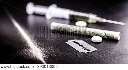 Cocaine And Heroin, Drugs, Image With Syringe, White Powder, Illegal Pills. Toxic Substances, Addict