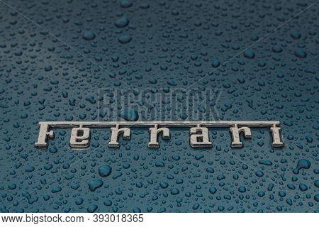 Bath, Uk - October 04, 2020: Ferrari Spelled Out On The Bonnet Of Ferrari 412, A Rare Model Designed