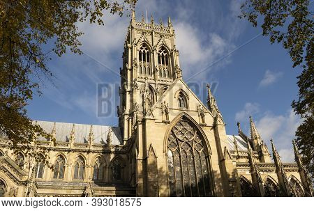 Doncaster, Yorkshire, England - October 7, 2020. Doncaster Minster Church St George Exterior View On