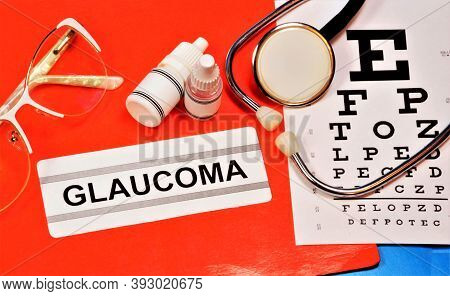 Glaucoma. Text Label To Indicate The State Of Health. The Diagnosis Was Made By An Ophthalmologist.