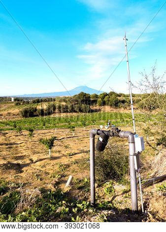 These Days Orchards And Other Farmland Are Kept Hydrated And Controlled Via Technology. Here A Mast