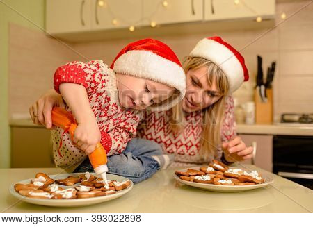 Cute Boy Bake Homemade Festive Gingerbreads. Funny Child Prepare Holiday Food For Santa Clause. Sant