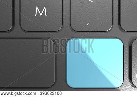 Blue Blank Button On Keyboard, 3d Rendering