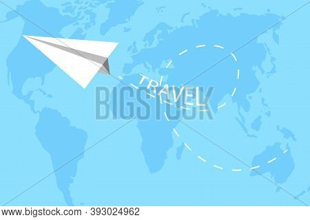 Blue Paper Plane Travel Sky. Concept Flat Vector Illustration. Isolated Background. Origami Paper Pl
