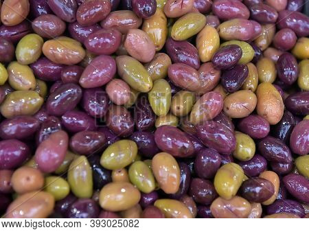 Background Of Olives Close Up,group Olives On The Market