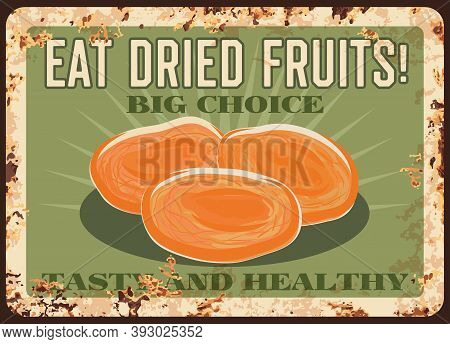 Dried Apricots Rusty Metal Plate, Fruits Farm Market Food Poster, Vector Vintage. Natural Organic Dr