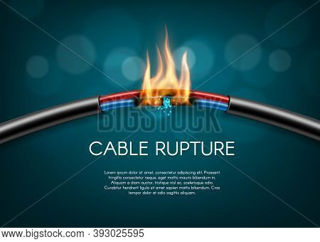 Cable Rupture Break, Electric Power Wire Sparks Burn, Vector Disconnection. Electric Cable Wire Brok