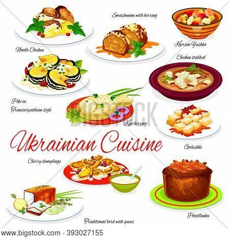 Ukraine Food Menu Vector Noodle Chicken, Smazhenina With Herring And Kherson Yushka, Kiev Herring, G