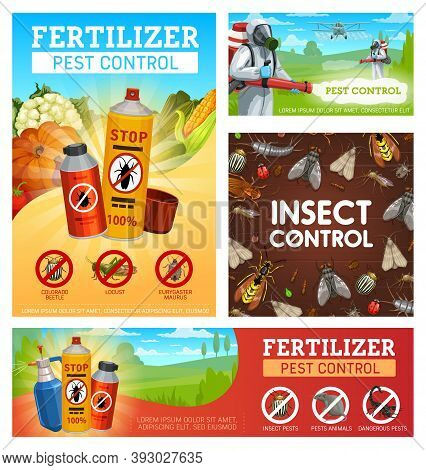 Fertilizer Pest Control Vector Posters. Disinsection, Insect Control On Fields And Gardens, Extermin