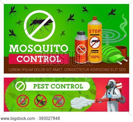 Pest Control, Mosquito Disinsection Vector Banners With Repellents And Exterminator With Cold Fogger
