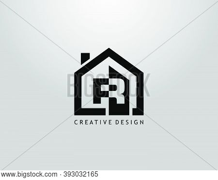 Real Estate R Letter Logo. Negative Space Of Initial R And Minimalist House Shape