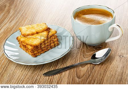 Crunchy Cookies With Sesame, Broken Cracker In Saucer, Coffee Espresso In Light-blue Cup, Spoon On W