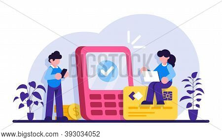 Payment Options Concept. Financial Transactions, Money Operations. Cash And Cashless, Contactless Pa