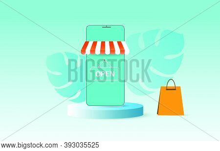 Smart Phone With Online Shopping Application In Trendy Flat Style Isolated For Technology And Shoppi