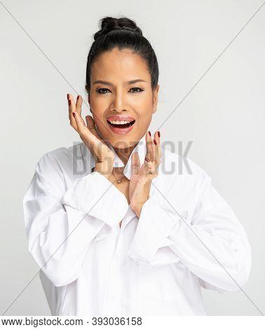 Portrait Of Beautiful Asian Woman. Beauty Portrait Of Gorgeous Fresh Smilng Happy. Asia Girl Black H