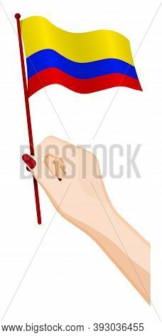 Female Hand Gently Holds Small Colombia Flag. Holiday Design Element. Cartoon Vector On White Backgr