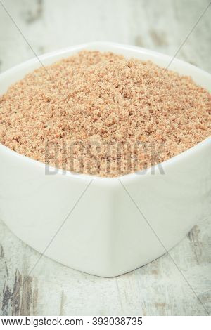 Linseed In White Glass Bowl. Healthy Food Containing Natural Vitamins, Dietary Fiber And Acids Omega