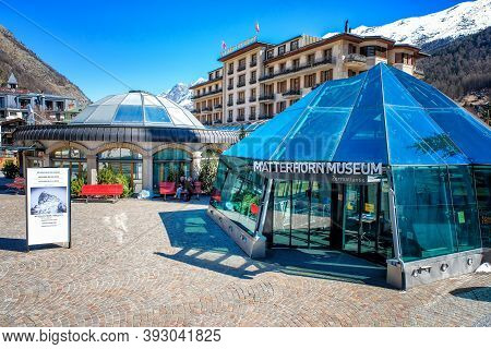 Zermatt, Switzerland - March 26,2017: Matterhorn Museum Building In Beautiful Old Village Zermatt At