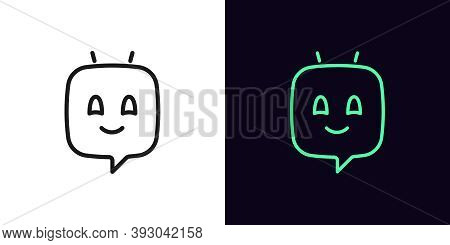 Outline Chat Bot, Icon With Editable Stroke. Linear Voice Assistant, Virtual Chatbot In Shape Of Mes