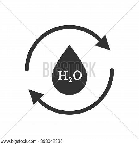 Drop Of H2o Water With Arrows Around Icon. Illustration Of An Isolated Recycle Or Reuse Sign With Th