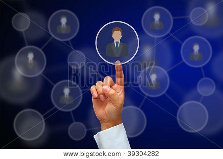 Hand Pressing Human Icon Button