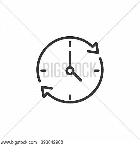 Clock With Arrows Around Linear Icon Isolated On White Background