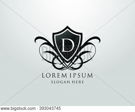 Majestic D Letter Logo. Vintage D Shield Design For Royalty, Restaurant, Automotive, Letter Stamp, B