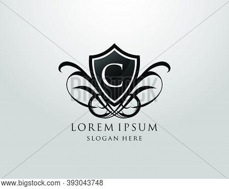 Majestic C Letter Logo. Vintage C Shield Design For Royalty, Restaurant, Automotive, Letter Stamp, B