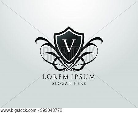 Majestic V Letter Logo. Vintage V Shield Design For Royalty, Restaurant, Automotive, Letter Stamp, B