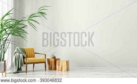 Interior Of Living Room With Coffee Tables And Yellow Armchair, Home Design 3d Rendering