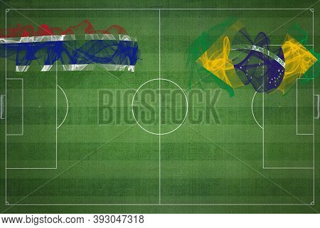 Gambia Vs Brazil Soccer Match, National Colors, National Flags, Soccer Field, Football Game, Competi
