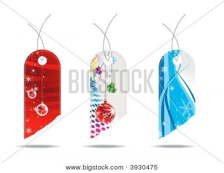 three different Glossy Christmas gift tags with white background poster