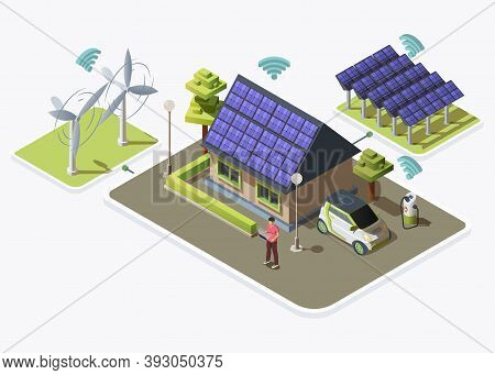 Electric Car, Smart House Connected To Alternative Energy Sources Produced By Wind Turbines And Sola