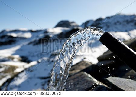 Source of spring fresh water in Ossau Valley, Pyrenees National Park, Pyrenees in France.