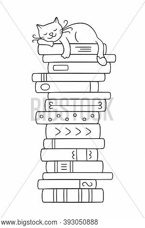 A Stack Of Books With A Sleeping Cat. Cute Kitty Sleeping On Books Pile. Vector Illustration In Dood