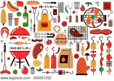 Barbecue Doodle Set. Collection Of Bbq Elements For Cooking Grill Coal Steak Brazier Skewer Seasonin