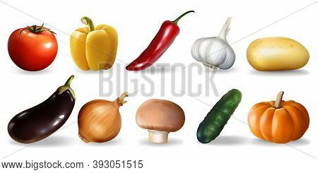 Realistic Vegetables Set. Collection Of Images Pictures Drawings Of Garden Farmland Food Fruits Isol