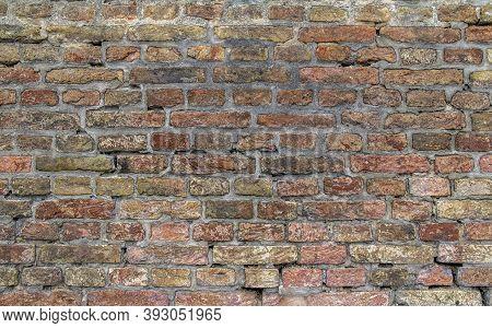Full Frame Weathered Rundown Brick Wall Background