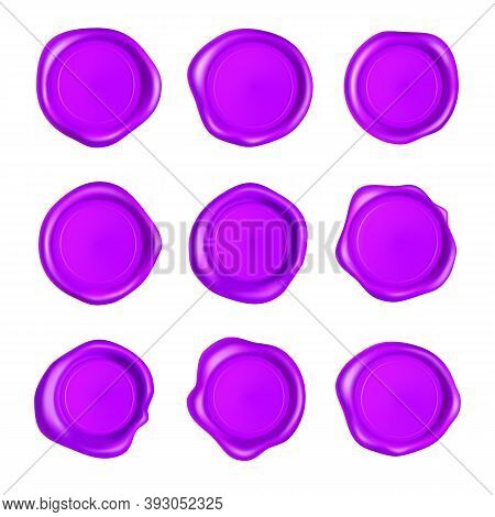 Purple Wax Seal Set. Wax Seal Stamp Set Isolated On White Background. Realistic Guaranteed Purple St