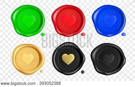 Wax Seal Set With Hearts. Green, Red, Blue, Gold, Black Wax Seal Stamps With Heart Isolated On White