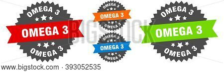 Omega 3 Sign. Round Ribbon Label Set. Seal