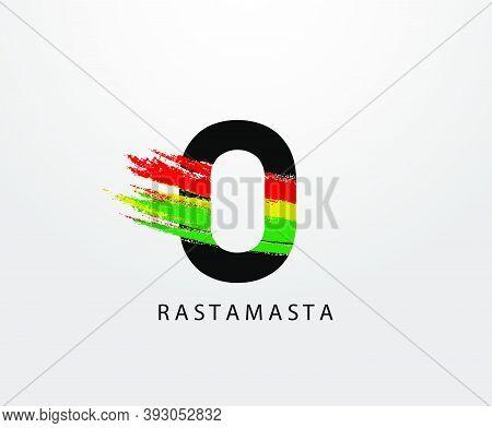 O Letter Logo With Splatter And Rasta Color. Letter O Reggae