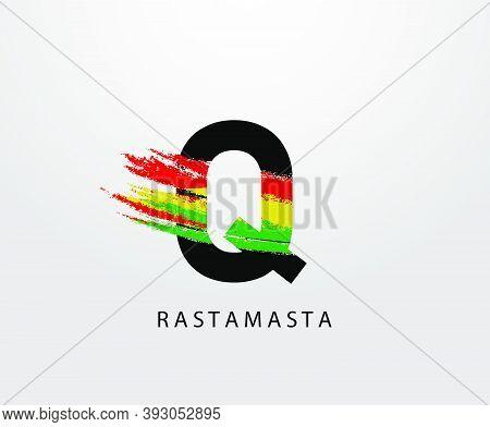 Q Letter Logo With Splatter And Rasta Color. Letter Q Reggae