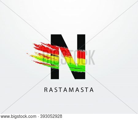 N Letter Logo With Splatter And Rasta Color. Letter N Reggae